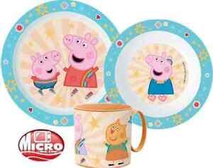 Peppa Pig Boys Girls Kids 3 Piece Plate Bowl Cup Dinner Breakfast Set