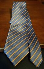 Gianni Viera 100% Silk Blue-Tangerine Stripped Tie Made in Italy