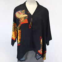 e11271b7f2a NEW NWT Dressori Woman Plus Size Crane Birds Print 100% Silk Cardigan  Blouse 2X