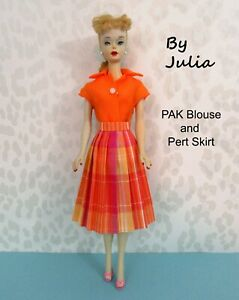 REPRODUCTION PAK BLOUSE & PERT SHIRT Vintage 60's Barbie Clothes ORANGE PLAID