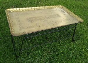 """Large 38"""" X 22"""" Mid Century Moroccan Brass Tray Wrought Iron Base Coffee Table"""