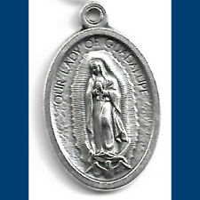 "Our Lady of Guadalupe 1"" ITALY NEW Silver Oxidized Die Cast CATHOLIC Medal ✝️"