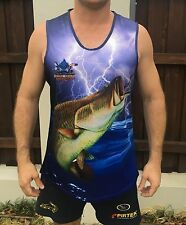 New Killer Crank Blue Barramundi Fishing Singlet. All Mens Sizes From XS To 3XL