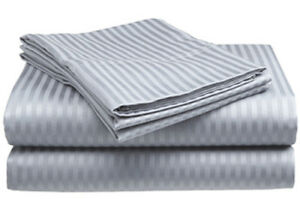 Twin Size Silver 400 Thread Count 100% Cotton Sateen Dobby Stripe Sheet Set