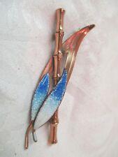 Vintage Matisse Renoir copper Brooch Pin Bamboo with blue enamel leaves