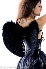 Ladies Black Real Feather Halloween Dark Fallen Angel Wings Fancy Dress Costume