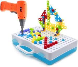 Mosaik Steckspiel Spielzeug ab 3 4 5 Jahre 3D Puzzle Bohrmaschine Kinder Montess