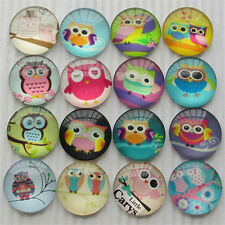 20pcs Round Clear Cabochons Flatbacks Resin Dome Cameos 25mm Owl