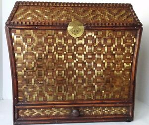 """Large Wood Box Gold Wicker Accent 15"""" Tall  x 16"""" Long  x 11"""" Wide"""