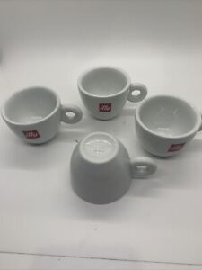 Set of 4 Illy Espresso Cups 3 Oz White Porcelain SPAL Portugal