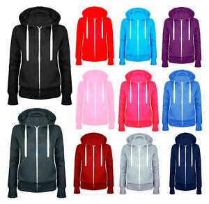 New Ladies Women Plain Zip Up Fleece Hoody Sweatshirt Coat Jacket Top Hoodies