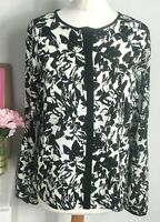 LAURA ASHLEY Blouse Size 10 BLACK WHITE | Floral Patterned Smart Office WORK