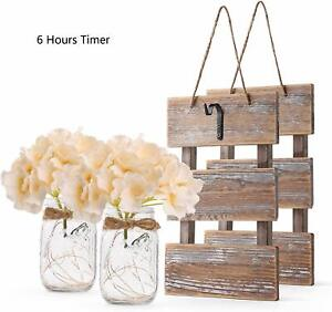 GBtroo Rustic Brown Mason Jar Sconces for Wall Decor, Decorative Chic Hanging Ho