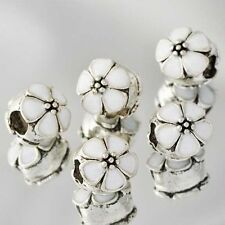 White Flower European Charm Bead Enamel For Silver Bracelets/Necklace Chain