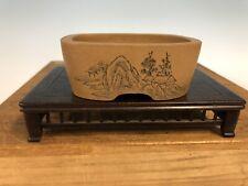 "Handmade Etched Shohin Size Bonsai Tree Pot By Maruhei 3 7/8"""