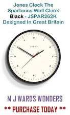 Jones Clock The Spartacus Wall Clock Black - JSPAR262K Designed In Great Britain