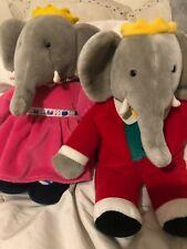 Gund Vintage King Babar and Queen Celeste Elephant Plush 1988-1989 Series Babar