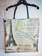 Eiffel Tower Extra Large SturdyTote Canvas Bag With Pockets Vintage Design