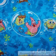 BonEful Fabric FQ Cotton Flannel Aqua Blue Yellow Sponge Bob Patrick Bubble Dot