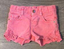 Zara Baby Girl Pink Acid-Wash Denim 5-Pocket Shorts Crochet Details 9-12 months