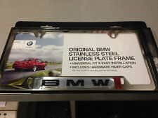 GENUINE BMW POLISHED LICENSE PLATE FRAME(SILVER BACKGROUND) 82-12-0-010-395