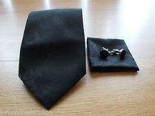 Cravate en soie noir motif circulaire NEUVE + boutons de manchette + pochette