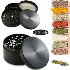 New Spice Herbal Zinc Alloy Smoke 4 Piece 3 Inch Black Tobacco Herb Grinder US