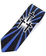Holy Trinity Blue and Black Sunburst Crosses Religious Novelty Tie (NV1560)