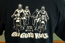 Old Guys Rule Born to Be Wild Motorcycle Biker t-Shirt Black Beige Screen Print