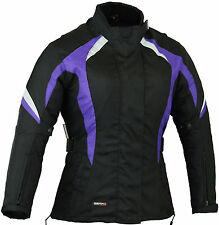 Purple Womens Motorbike Jacket Ladies Motorcycle Coat Waterproof XS