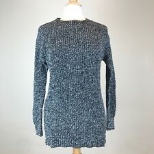 Gap Women's Tunic Sweater Zipper Detail Crewneck Long Sleeve Size Small B & W D1