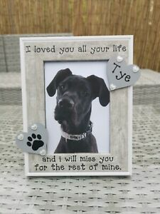 Personalised Dog Memorial Photo Picture Frame In Grey, In Loving Memory Any Word