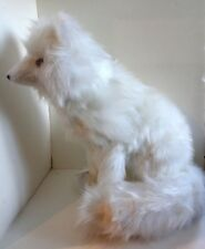 "Long Haired WHITE ARTIC FOX Sitting Figure New Hand Made 17"" $80 Ships Free"