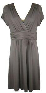 The White Company Grey Jersey Wrap Stretch Midi Dress Size UK 8 EU 36 Silk Trim
