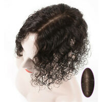 Women Curly /Straight 100% Topper Human Hair Piece Middle Part Silk Base Toupee