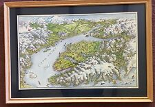 38 x 26 framed illustration of Cook Inlet Alaska
