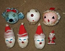 7 VTG ANTIQUE GLITTER MICA PAPER MACHE SPUN COTTON XMAS ORNAMENTS SANTA JAPAN
