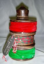 Made in India set of 3  Ribbons Total 15 yards on Wooden Spool Red Green Plaid