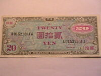 "1946 Japan 20 Yen Military ""A"" XF Extra Fine Original Paper Money MPC Note P-72"