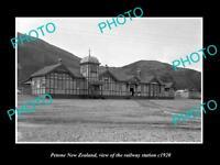 OLD LARGE HISTORIC PHOTO OF PETONE NEW ZEALAND THE RAILWAY STATION c1920