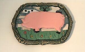 Pig Cast Iron Trivet Work Top Saver Kitchenware Heat Serving Mat Pot Stand