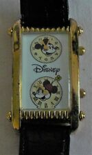 Disney Store vintage 1980s Minnie Mouse Dual Time Watch lined black leather band