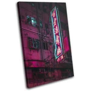 Tokyo Japan Night Neon Gaming City SINGLE CANVAS WALL ART Picture Print