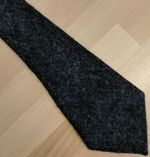 Vintage rustic coarse charcoal grey pure new wool English tweed tie