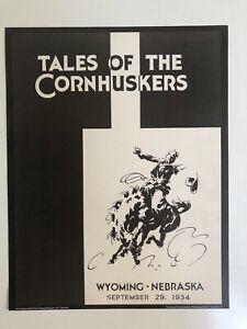 "1934 NEBRASKA CORNHUSKERS vs WYOMING COWBOYS 11""x14"" Football Program Poster"