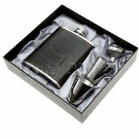 7oz Pocket Stainless Steel Leather Wrapped Liquor Hip Flask Funnel Cup Set Boxed