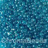 50g glass seed beads - Turquoise Transparent Lustered - approx 3mm (size 8/0)