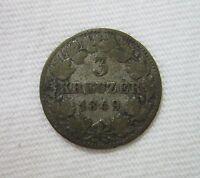 GERMANY, GERMAN STATES, BADEN.  SILVER 3 KREUZER, 1849. LEOPOLD I.