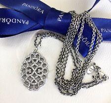 Authentic Pandora Silver Open Shimmering Lace CZ Necklace 90cm #390358CZ-90