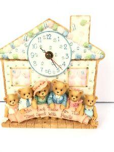 Cherished Teddies Family Clock New in Box Vtg 1995 156604 Vintage No Certificate